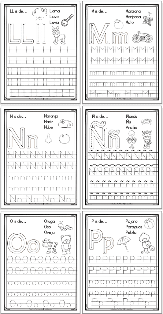 A 2x3 grid of 6 printable Spanish alphabet tracing pages with the letters ll, m, n, ñ, o, and p, respectively. Each page has uppercase and lowercase letters to trace as well as correct letter formation graphics and clip art to color with spanish vocabulary.