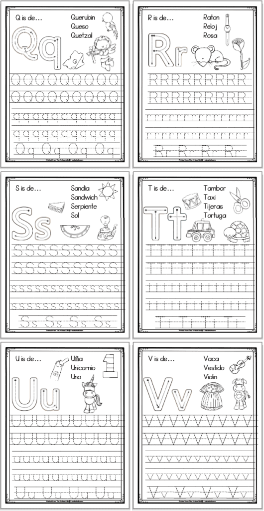 A 2x3 grid of 6 printable Spanish alphabet tracing pages with the letters q, r, s, t, u, and v, respectively. Each page has uppercase and lowercase letters to trace as well as correct letter formation graphics and clip art to color with spanish vocabulary.