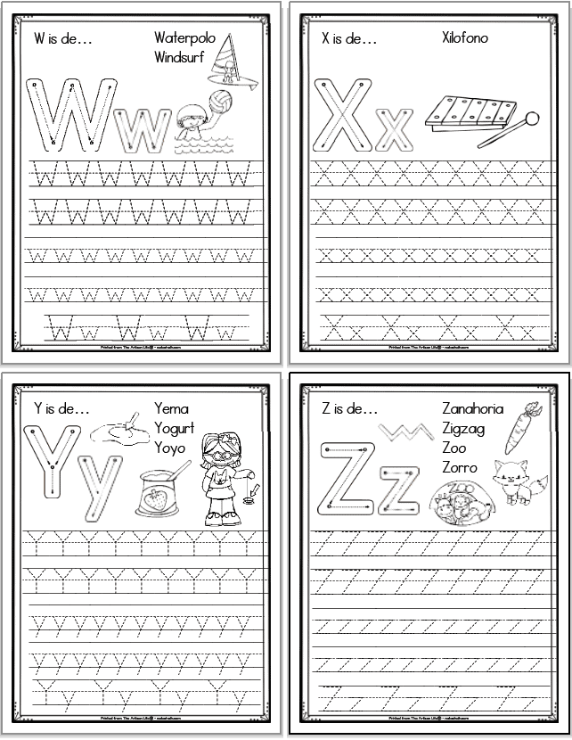 A 2x2 grid of 4 printable Spanish alphabet tracing pages with the letters, x, y, and z, respectively. Each page has uppercase and lowercase letters to trace as well as correct letter formation graphics and clip art to color with spanish vocabulary.