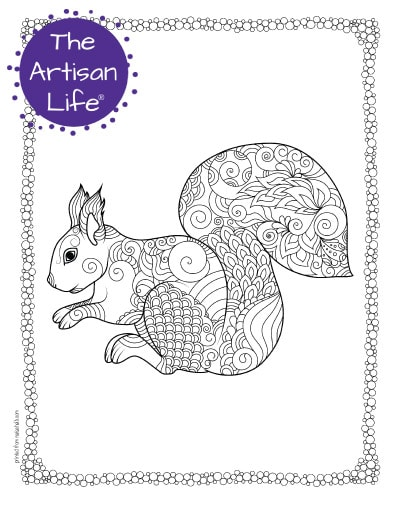 """A preview of a squirrel coloring page for adults. The squirrel has hand drawn doodles to color and the page is bordered by a doodle frame. A purple round logo reading """"the artisan life®"""" is in the corner."""