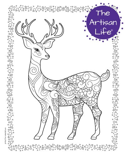 """A preview of a stag coloring page for adults. The deer has antlers and has hand drawn doodles to color and the page is bordered by a doodle frame. A purple round logo reading """"the artisan life®"""" is in the corner."""