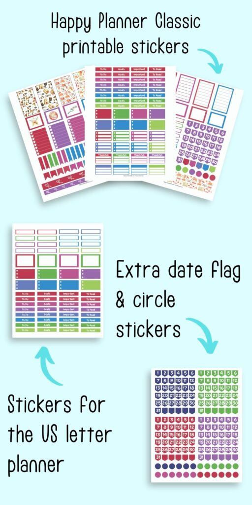 A preview of printable planner stickers for January with bright, cheerful colors. On top there are three sheets of stickers for Happy Planner Classic. Below is a page of functional planner stickers for letter sized planner printables and in the bottom right are date flags and circle stickers