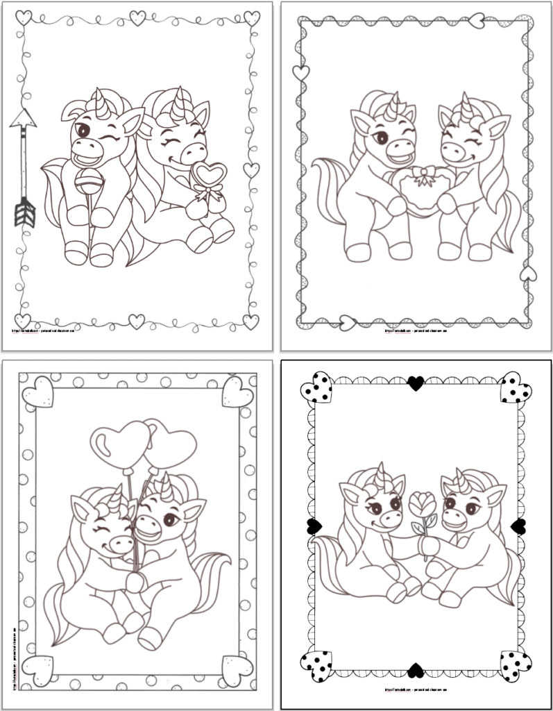 A 2x2 grid of printable Valentines unicorn coloring pages. Each page has a doodle frame. The first image has two unicorns with lollipops. The second image has unicorns holding a box of chocolates. The third image shows unicorns holding two heart balloons. The fourth image shows two unicorns holding a rose.
