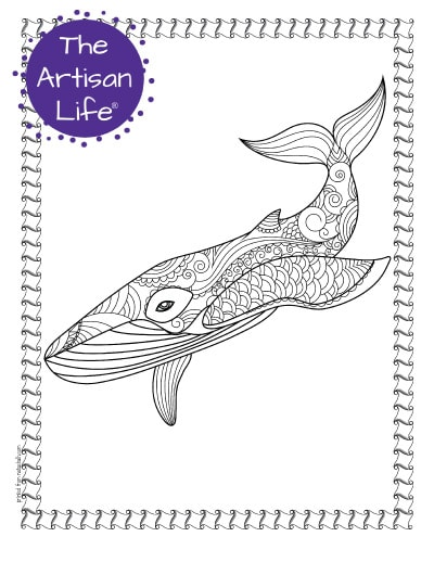 """A preview of a whale coloring page for adults. The whale has hand drawn doodles to color and the page is bordered by a doodle frame. A purple round logo reading """"the artisan life®"""" is in the corner."""