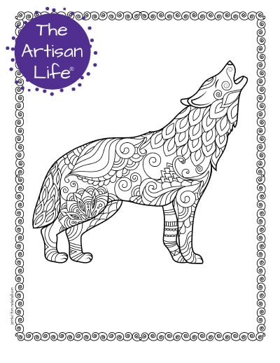 """A preview of a howling wolf coloring page for adults. The wolf has hand drawn doodles to color and the page is bordered by a doodle frame. A purple round logo reading """"the artisan life®"""" is in the corner."""