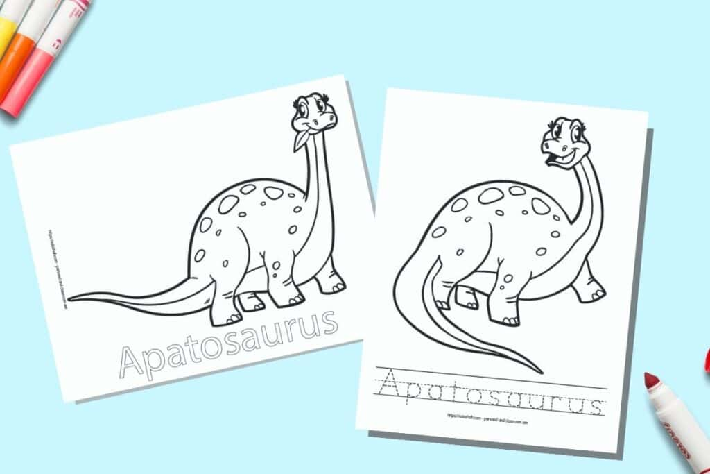 Two printable coloring pages for children. Each page has an Apatosaurus to color with the name written beneath. One name is in bubble letters to color, on the other page the letter is in a dotted font on handwriting guides to trace. The pages are on a blue background with colorful children's markers.