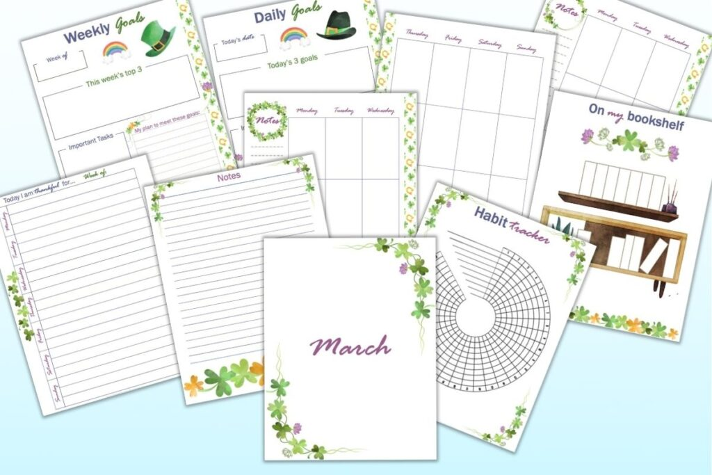 A flat lay mockup of ten printable planner pages for Happy Planner Classic. Pages include March cover page, weekly goals, daily goals, march monthly calendar page, weekly spread, a gratitude journal page, a habit tracker, and a reading log.