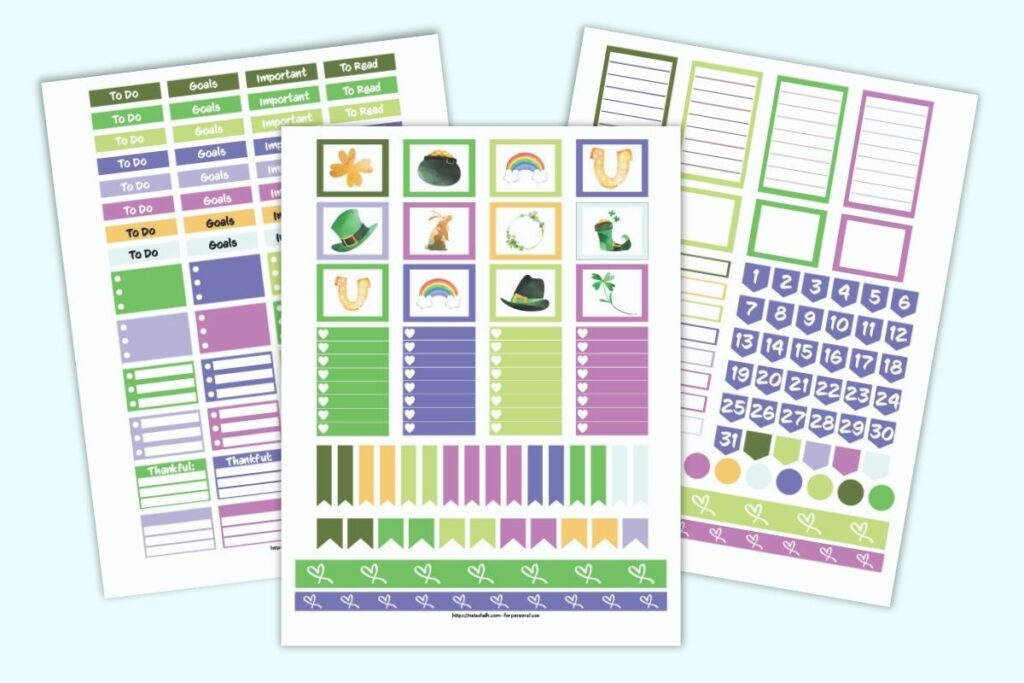 three printable planner sticker sheets for Happy Planner Classic with a March theme. The colors are greens and purples. Stickers include checklist boxes, washi tape, date flags, and banners with to do, goals, important, and to read.