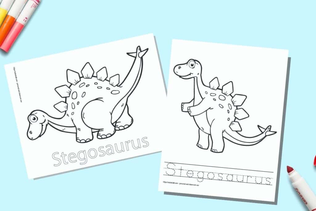 Two printable coloring pages for children. Each page has a Stegosaurus to color with the name written beneath. One name is in bubble letters to color, on the other page the letter is in a dotted font on handwriting guides to trace. The pages are on a blue background with colorful children's markers.
