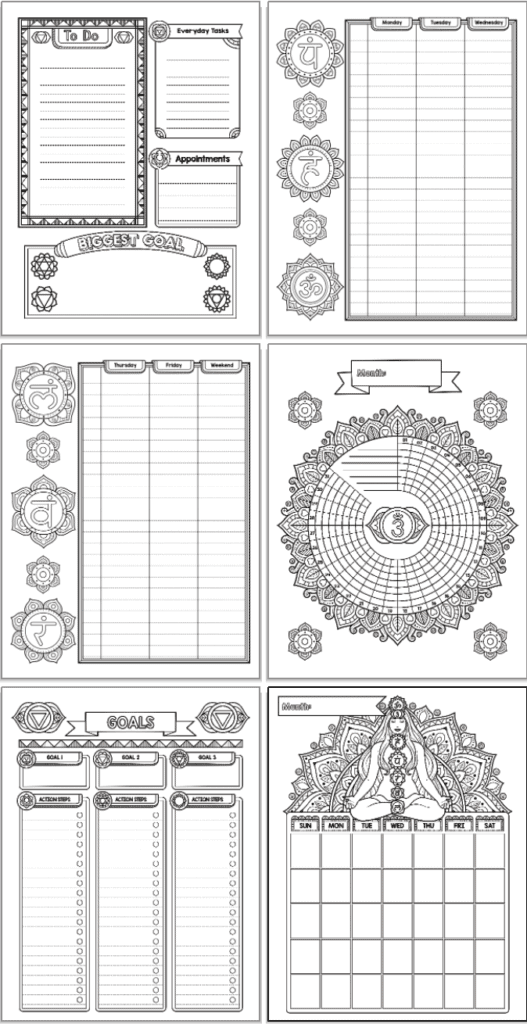 A 2x3 grid of 6 chakra bullet journal style planner printables. Pages include a daily log, two page weekly spread, habit tracker, goals tracker, and monthly calendar. The pages are black and white with decorative elements and chakra symbols to color.