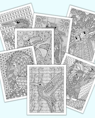 Seven printable bird and blossom coloring pages for adults with complex, zen-style illustrations to color. The pages are on a blue background. Birds include a hummingbird, a crane, a secretary bird, a hornbill, toucans, and parrots.