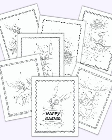 six printable connect the dots pages for Easter with bunnies, ducks, and lambs.