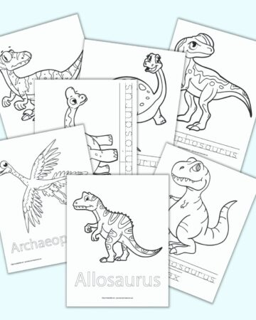 Seven printable dinosaur coloring pages with names. Each page has the dinosaur's name in a bubble font or as a dotted font to trace.