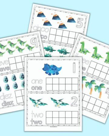 four free printable dinosaur themed ten frame printable pages. Each page has two ten frames with dinosaurs and a blank ten frame. Two pages are shown in English (1 & 2, 3&4) and two in Spanish (5 & 6, 9 & 10)