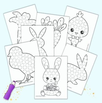 7 printable do a dot pages for Easter. Each page has a black and white image with circles to dot in with a dauber style marker. Images include bunnies, chicks, carrots, and an Easter lily