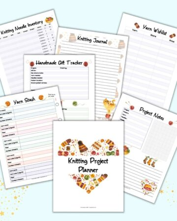 a flatlay mockup of 7 printable knitting binder pages including a cover page, yarn stash inventory, knitting needle inventory, project notes, and yarn wish list