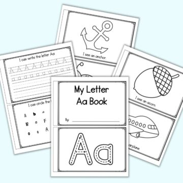 """A flatlay of five sheets of printable letter a emergent reader. Each sheet has two pages to cut apart and staple. Pages include """"I see an..."""" acorn, airplane, able, avocado, anchor, and ant as well as tracing pages. The pages are on a blue background."""