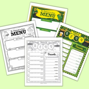 a preview of four printable March menu planner pages