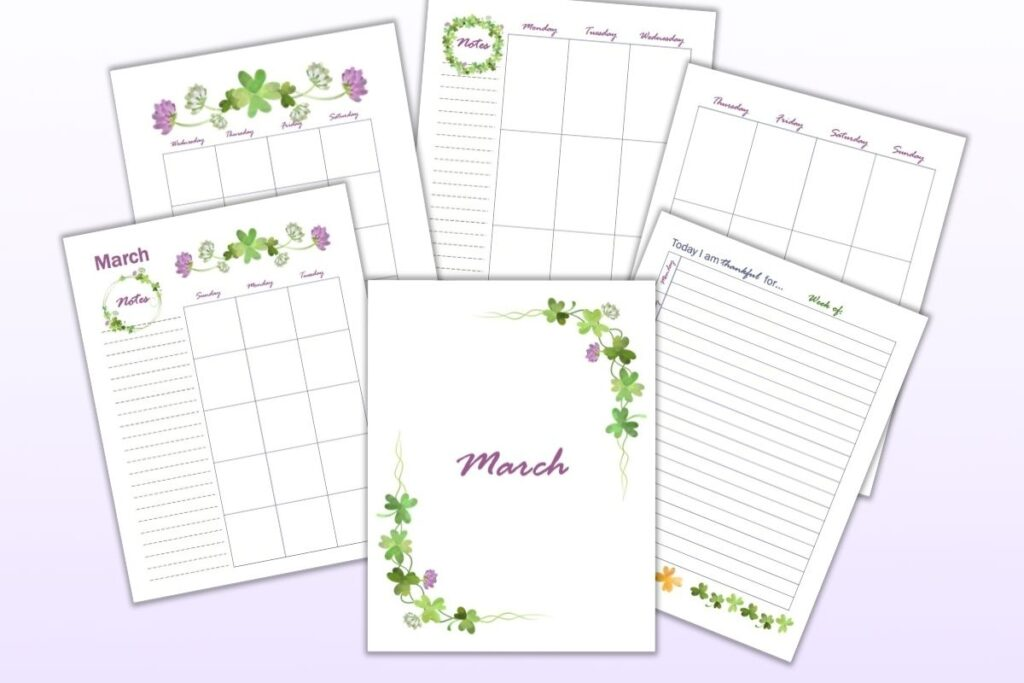 Seven free printable planner pages for March including a cover page, gratitude journal page, weekly spread, and monthly pages