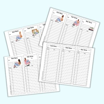 a preview mockup of four pages of printable book notes bookmarks. Each page has three bookmarks with lines to take notes. Three pages of bookmarks have clipart with reading girls including blond, brunette, and black girls reading
