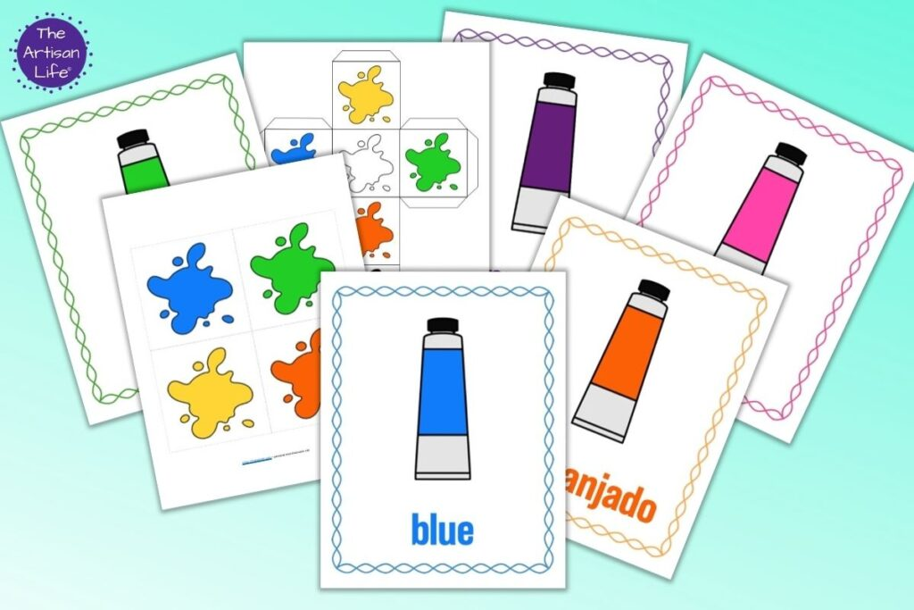 A preview showing seven pages from a set of printables for a color matching game for preschoolers. Four pages show a cartoon tube of paint with the color's name and a colorful border. One page has gross motor cube inserts and another page has a printable die with colorful paint splotches.