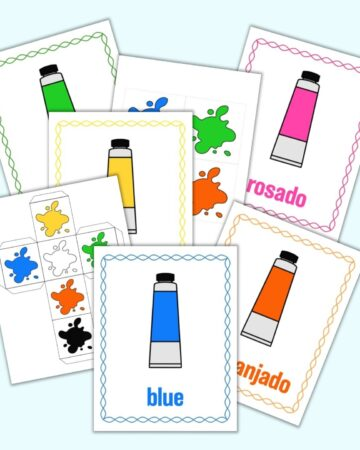 a mockup flatlay preview of a printable color matching game. The image has five color posters and two printable dice templates. Each color poster has a cartoon tube of paint, the color's name, and a matching color border.