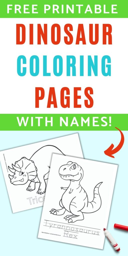 """text """"free printable dinosaur coloring pages with names"""" with a red arrow pointing at two coloring pages. One has a triceratops and the other a t-rex."""