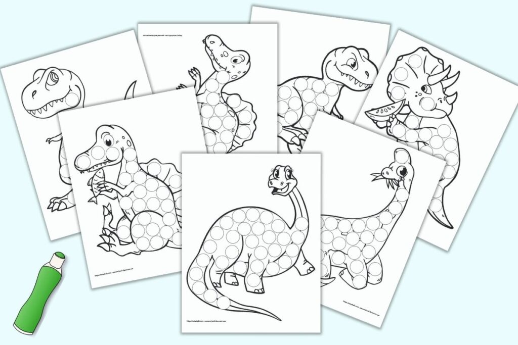 A preview of seven printable dinosaur do a dot pages with an illustrated green dauber marker. Each of the dinosaur illustrations fills a page and has many circles to dot in with a dauber style marker. Dinosaurs included t-rex, triceratops, spinosaurus, brontosaurus, and apatosaurus.
