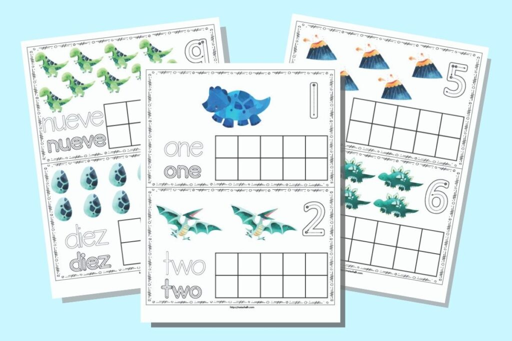 Three free printable dinosaur themed ten frame printable pages. Each page has two ten frames with dinosaurs and a blank ten frame. Two pages are shown in English (1 & 2, 5 &6) and one in Spanish (9 &10)