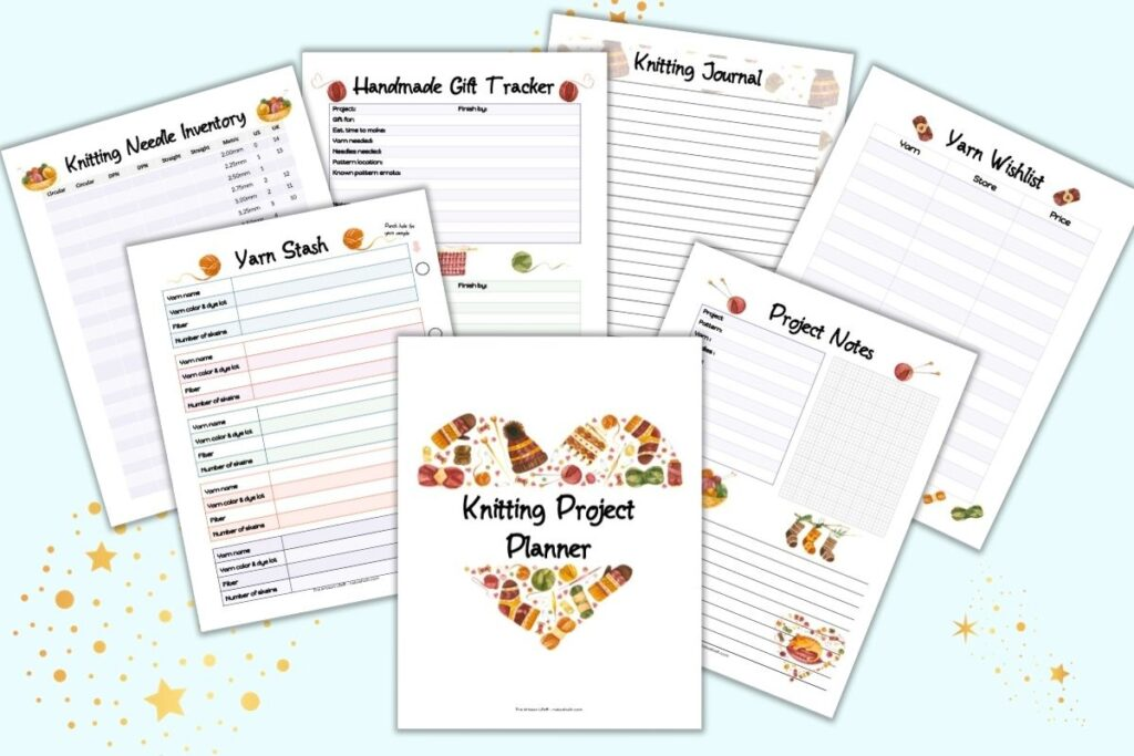A flatlay preview of 7 printable knitting planner pages. Pages include a cover sheet, project notes, yarn wishlist, knitting journal, handmade gift tracker, yarn stash inventory, and knitting needle inventory.