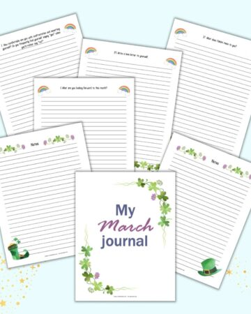 """seven printable March journal pages. Each page is lined and has a writing prompt on top. At the front and center of the preview is a front cover page reading """"My March journal"""""""