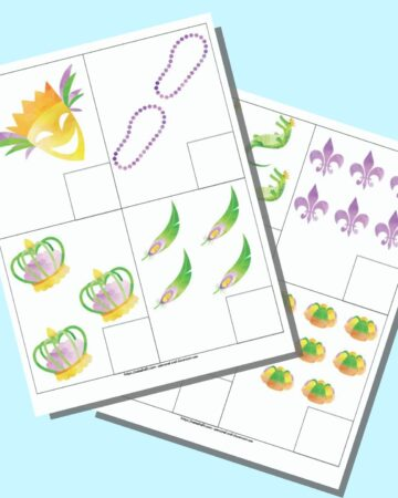 A preview of two pages of printable Mardi Gras themed counting cards. Each page has four cards to cut out. Each card has a number of items 1-8 and a box in the lower right corner for writing the number.