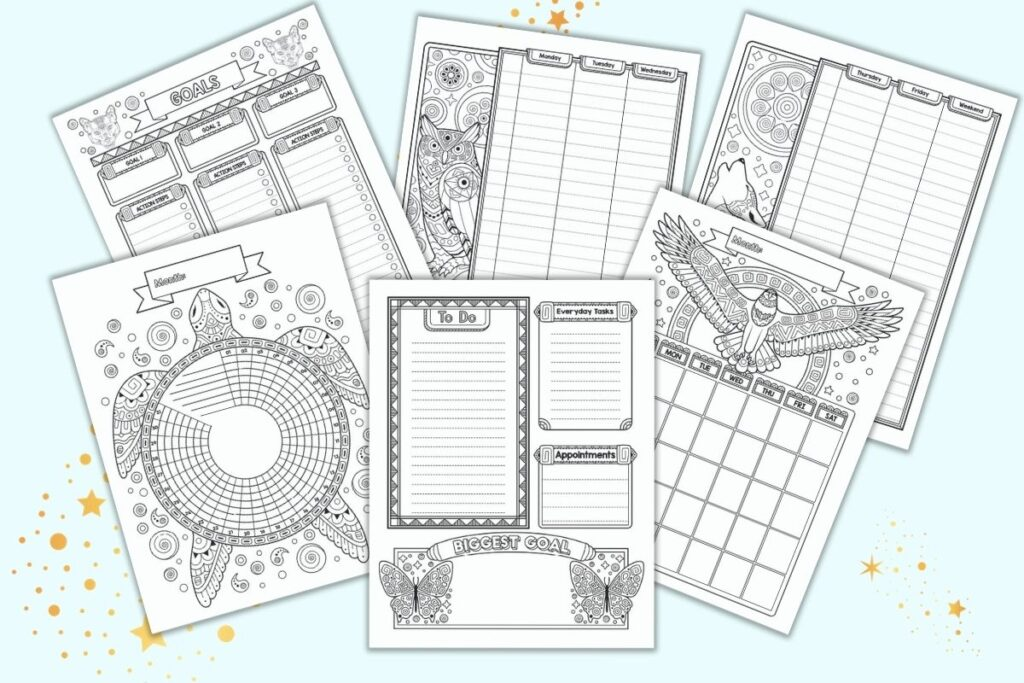 A preview of six printable bullet journal style planner pages with spirit guide animals. Pages include a daily planner page, habit tracker, monthly calendar, two page weekly spread, and goals tracker page. Each page features black and white drawings with spirit animals to color, including butteries, a turtle, an eagle, a wolf, and owl, and pumas.
