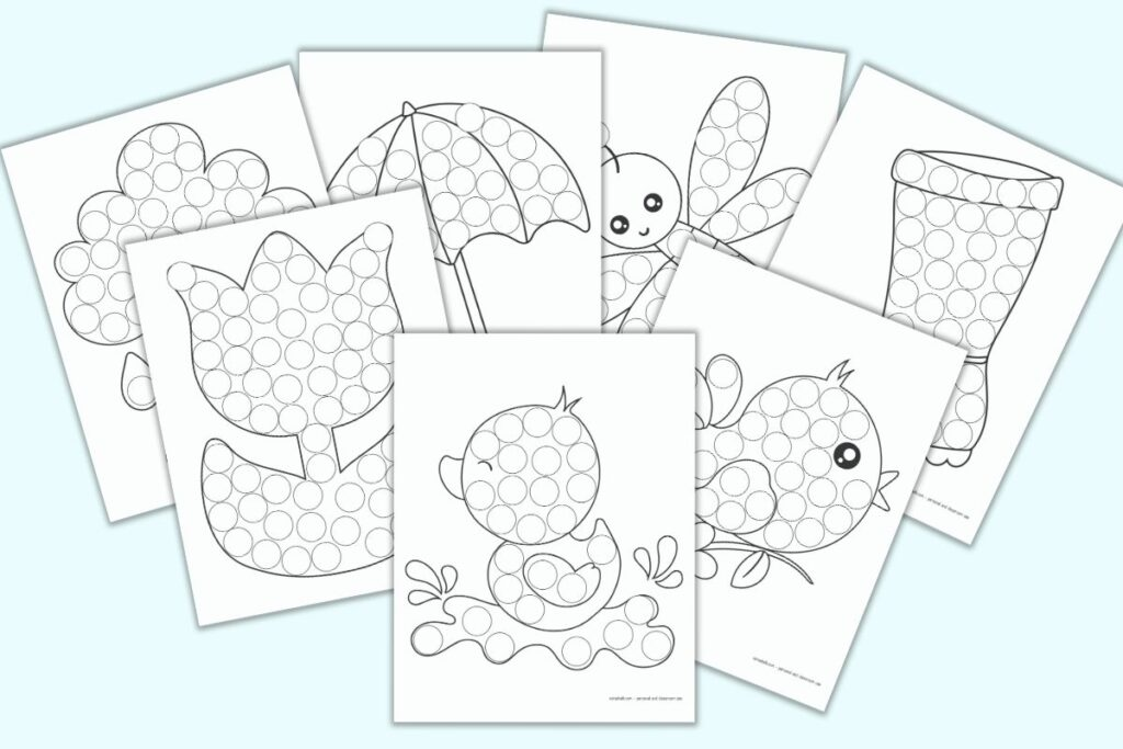A preview of 7 printable spring themed do a dot pages. Each page has a large black and white image with circles to color with dab it markers. Images include a duck, a bird, a rain boot, a dragonfly, an umbrella, a tulip, and a raincloud
