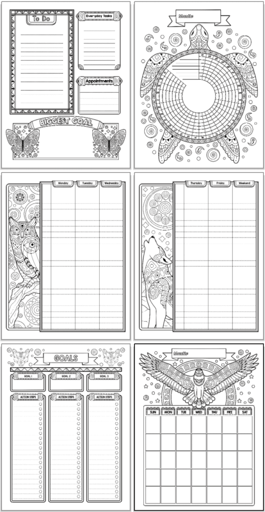 A 2x3 grid of printable planner pages.  Pages include a daily planner page, habit tracker, monthly calendar, two page weekly spread, and goals tracker page. Each page features black and white drawings with spirit animals to color, including butteries, a turtle, an eagle, a wolf, and owl, and pumas.