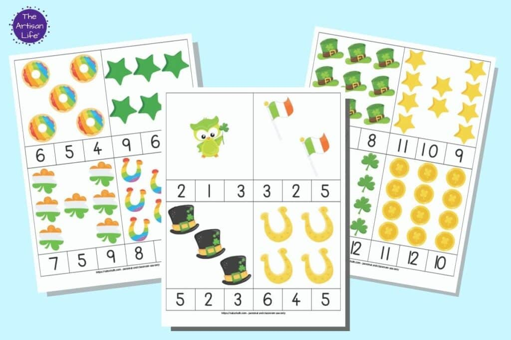 Three printable pages of St. Patrick's Day themed count and clip cards. Each page has four cards to cut out with a quantity of items 1-12 on the card and three numbers below for a child to select the correct number of items shown.