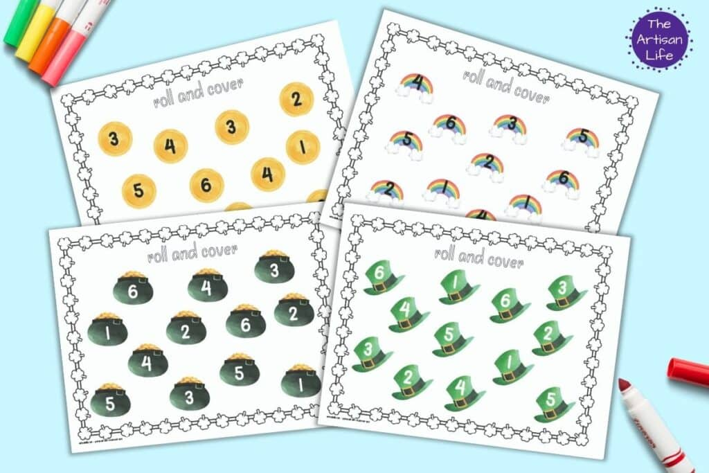 a preview of four printable St. Patrick's Day roll and cover printables. Each page has 12 St. Patrick's Day clipart images. Each image has a number 1-6. Images include hats, pots of gold, coins, and rainbows. There are children's colorful markers along the sides of the printables.