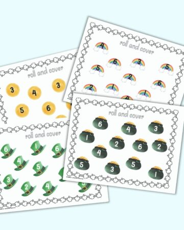 a preview of four printable St. Patrick's Day roll and cover printables. Each page has 12 St. Patrick's Day clipart images. Each image has a number 1-6. Images include hats, pots of gold, coins, and rainbows.
