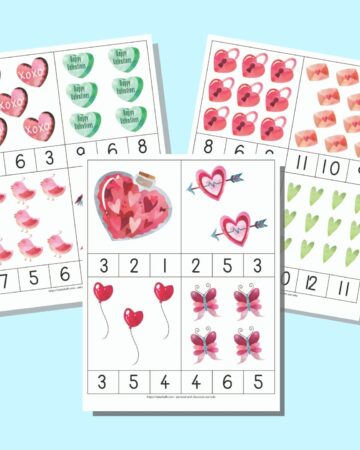 A preview of three printable Valentine's Day count and clip card pages. Each page has four cards with Valentine's Day images and three numbers 1-12 along the bottom edge. The pages are on a light blue background.