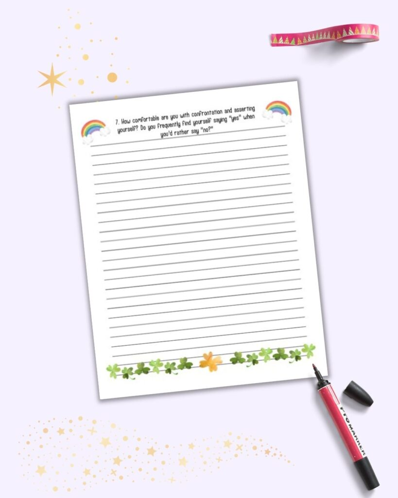 """A March journal page with shamrocks and rainbows. The page is lined and has a journaling prompt across the top: """"How comfortable are you with confrontation and asserting yourself?"""""""