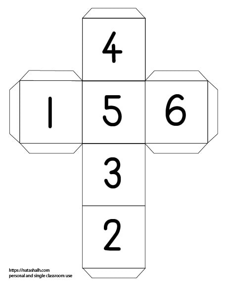 A printable die template to cut out and assemble. Instead of dots, each face has numerals.