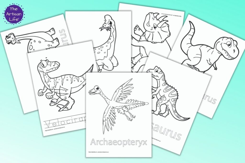 Seven printable dinosaur coloring pages with names. Dinosaurs include: Archaeopteryx, Allosaurus, T-Rex, Velociraptor, Apatosaurus, Triceratops, and Brachiosaurus
