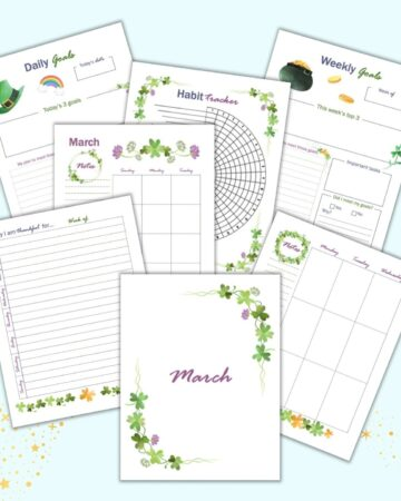 seven printable planner inserts for March including a cover page, gratitude journal page, weekly page, monthly page, goals pages, and habit tracker