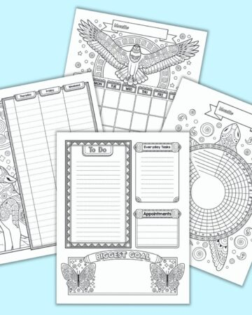 Four printable spirit animal bullet journal style planner pages. The front page is a daily planner page with butterflies. Behind are a weekly page with a wolf, a habit tracker with a turtle, and a monthly calendar page with an eagle.