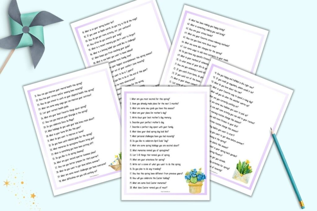A flatlay preview of five printable pages. Each page has a purple border and 20 journal prompts for spring with a piece of floral watercolor clipart in the bottom right corner of the page.