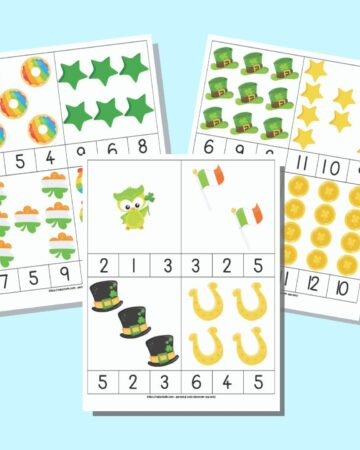A preview of three printable counting clip cards with a child-friendly St. Patrick's Day theme. Each page has four count and clip cards to cut out with a quantity of items 1-12.