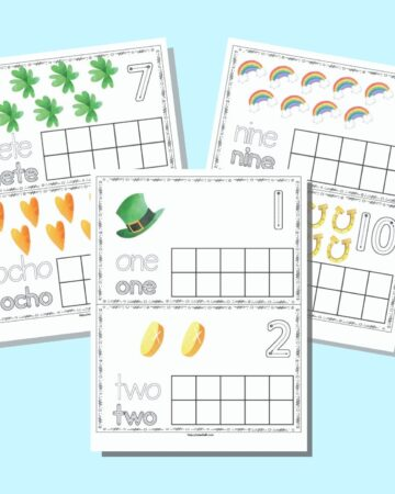 Three printable pages of St. Patrick's Day themed ten frames. Each page has two ten frames to cut apart. The cards have a blank ten frame with St. Patrick's Day clip art above and corresponding number formation graphics, the word to trace in a bubble font, and the word to trace in a correct letter formation font. The pages are on a light blue background.