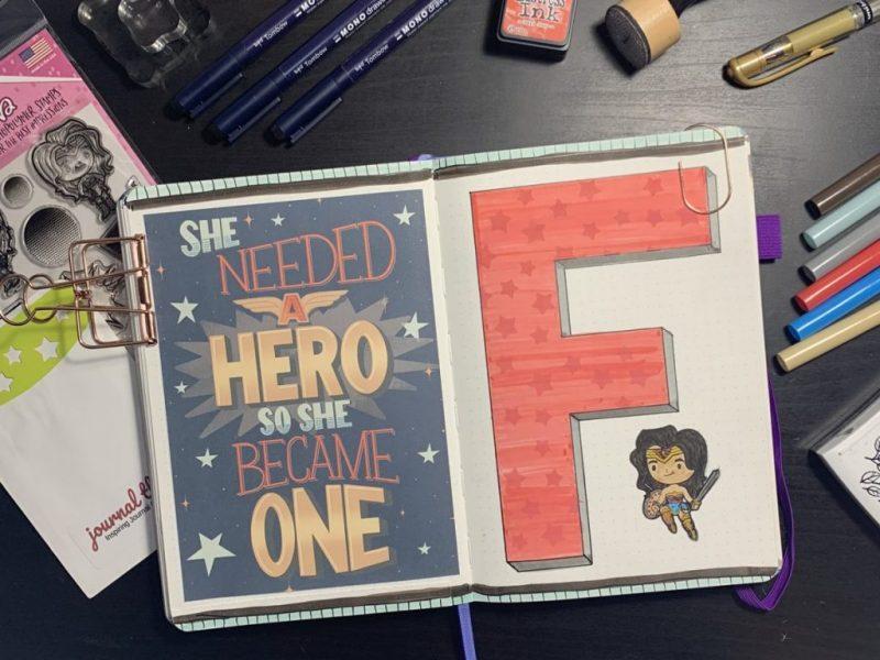 Wonder Woman Bullet Journal Setup