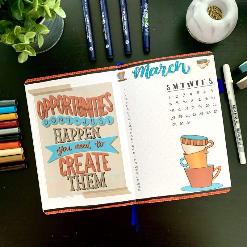 Teacup Bullet Journal Setup