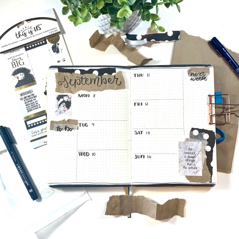 Bullet journal with paper bags